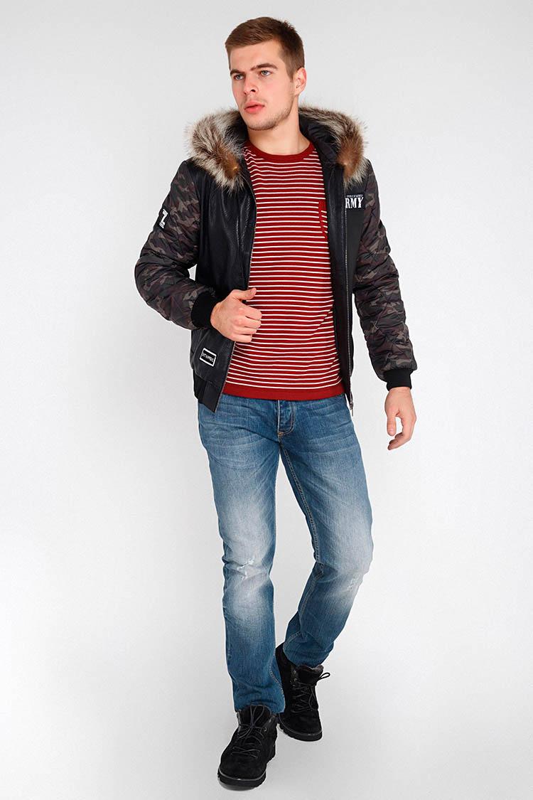 Куртка мужская из натуральной кожи черная, модель 17-08/KPS