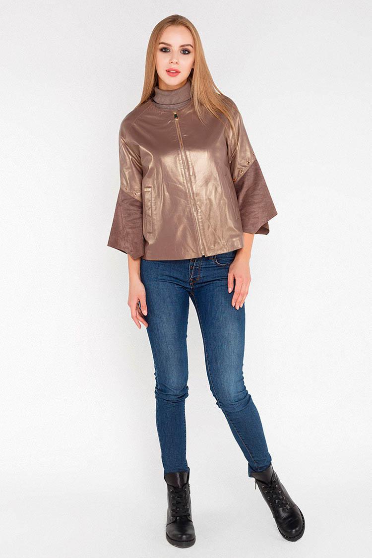 Куртка женская из натуральной кожи коричневая, модель 1606