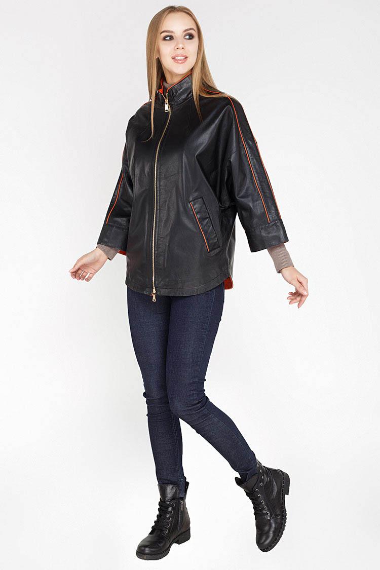 Куртка женская из натуральной кожи черная, модель DC-1593