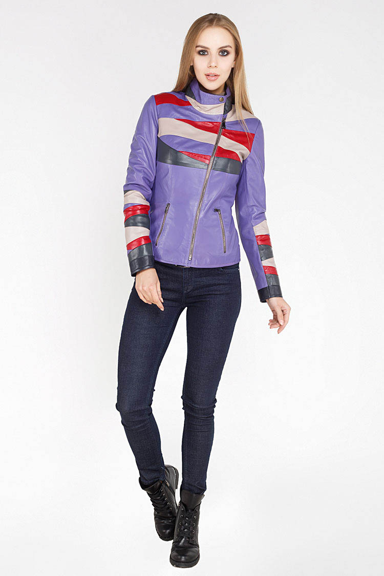 Куртка женская из натуральной кожи мультиколор, модель DC-1581