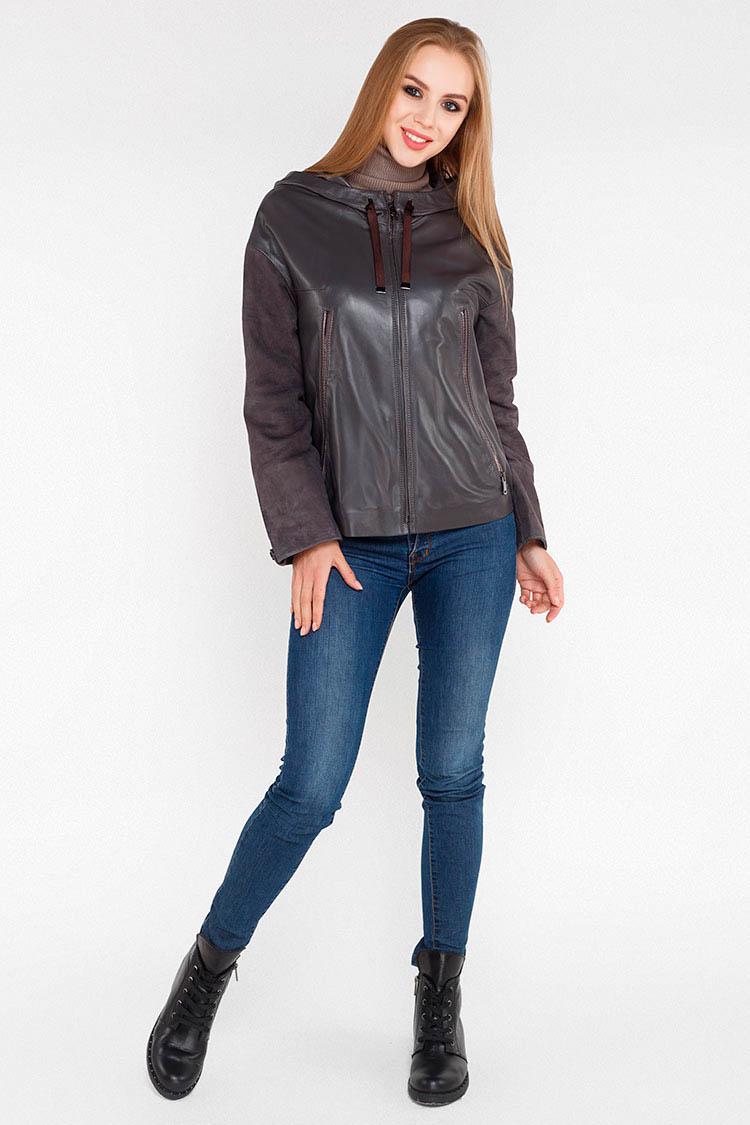 Куртка женская из натуральной кожи серая, модель DC-1668/60/KPS