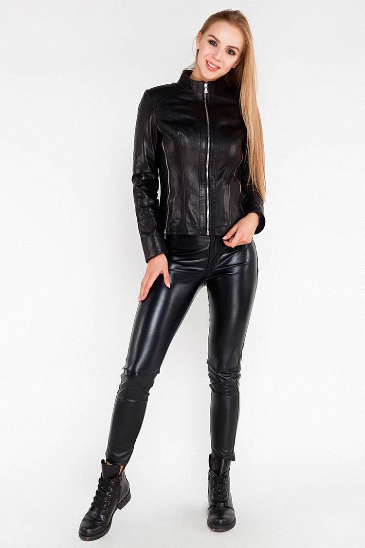 Куртка женская из натуральной кожи черная, модель B-1325