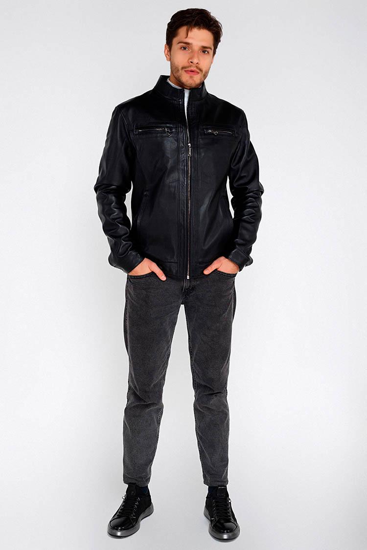 Куртка мужская из натуральной кожи черная, модель 1707