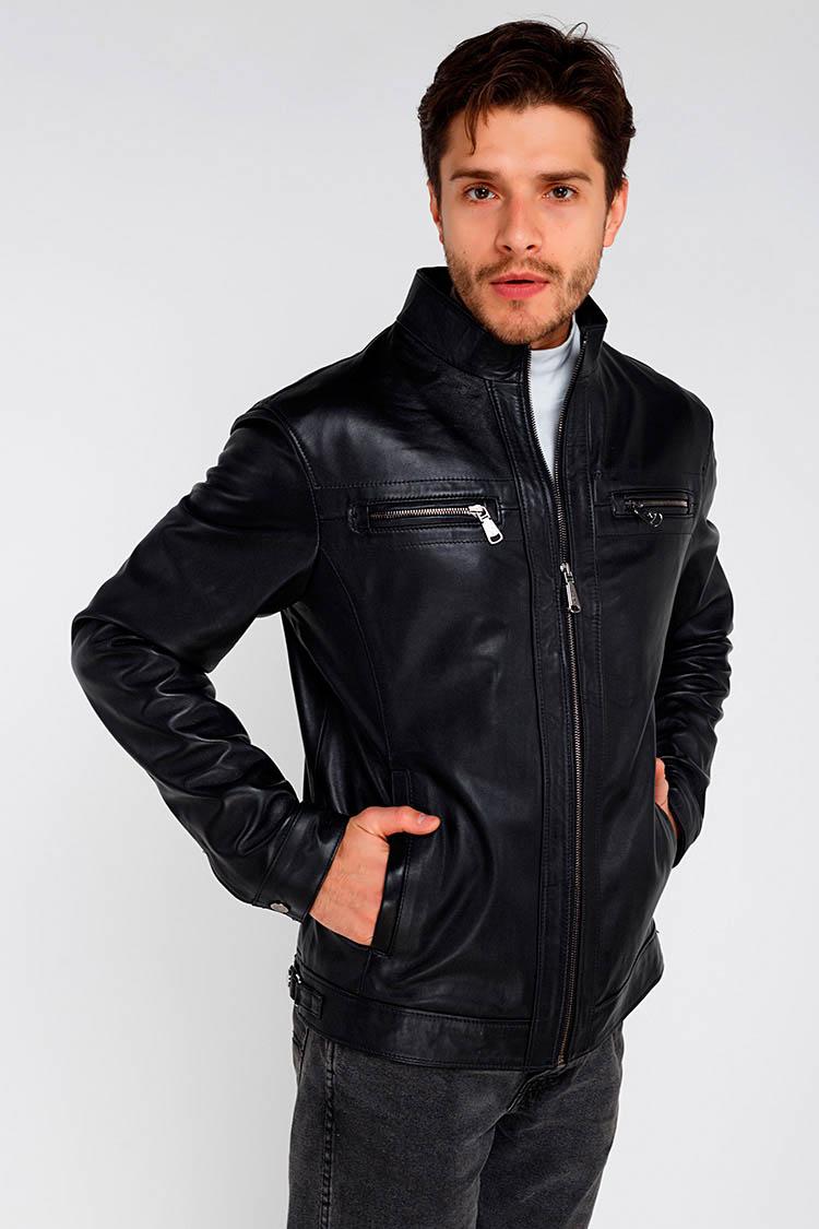 Куртка чоловіча з натуральної шкіри чорна, модель 1707