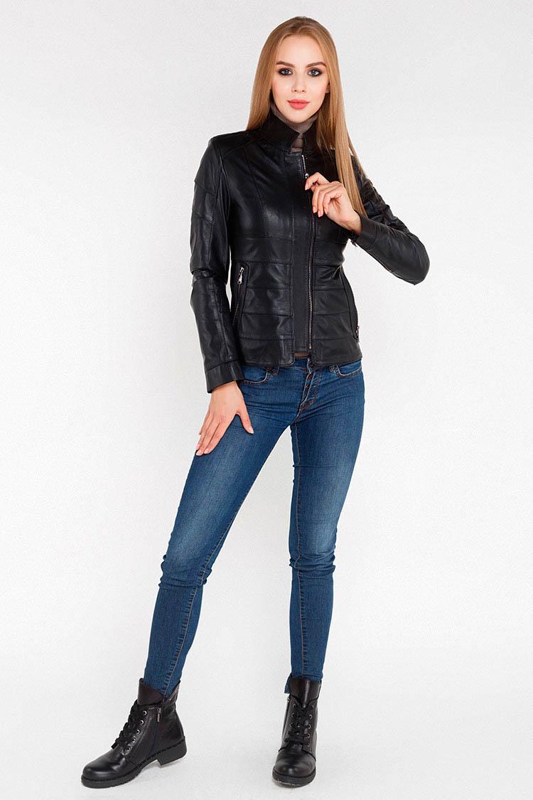 Куртка женская из натуральной кожи черная, модель Z-19