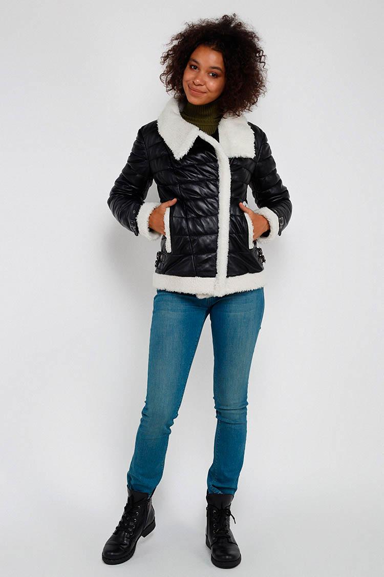 Куртка женская из натуральной кожи черная, модель DC-1566