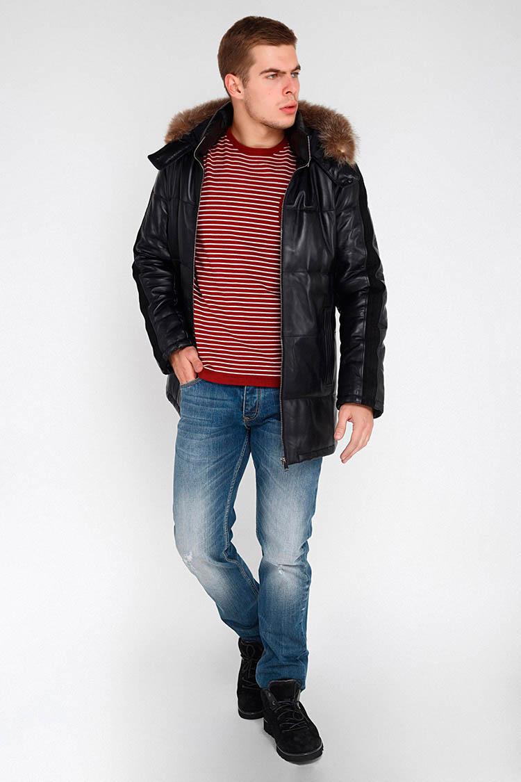 Куртка мужская из натуральной кожи черная, модель FRANCO/KPS