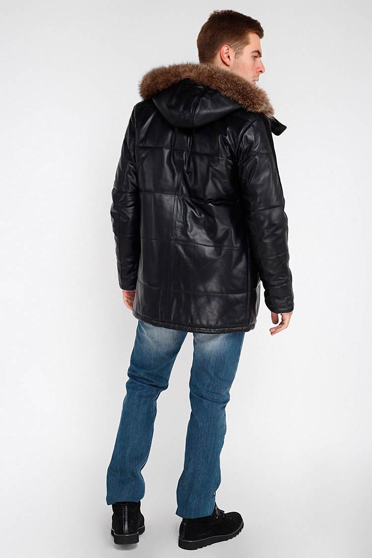 Куртка чоловіча з натуральної шкіри чорна, модель FRANCO/KPS
