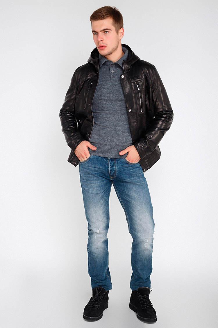 Куртка мужская из натуральной кожи черная, модель EZ-3029/KPS