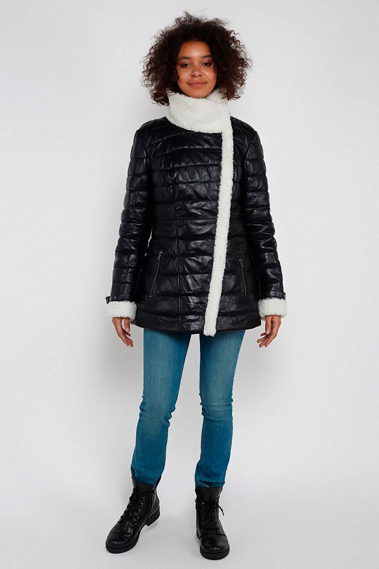 Куртка женская из натуральной кожи черная, модель DC-1566/75
