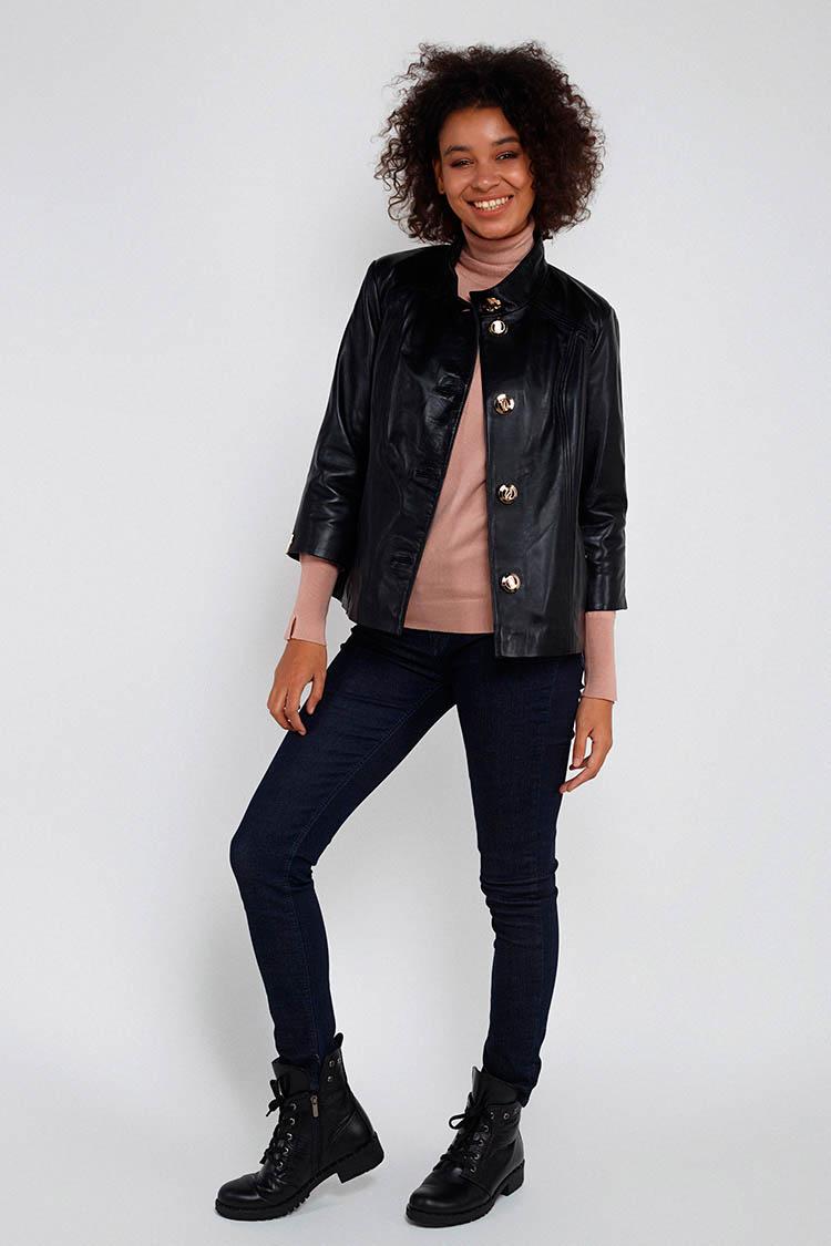 Куртка жiноча з натуральної шкіри чорна, модель M-07