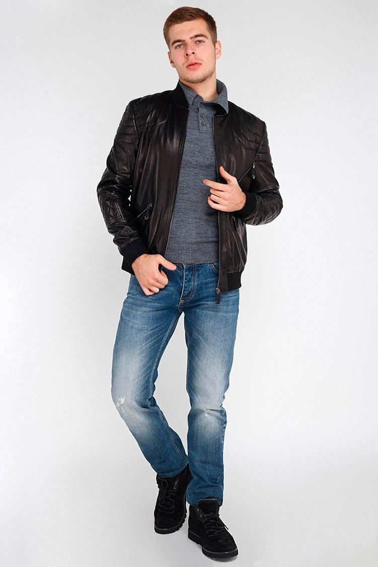 Куртка мужская из натуральной кожи черная, модель EZ-3001
