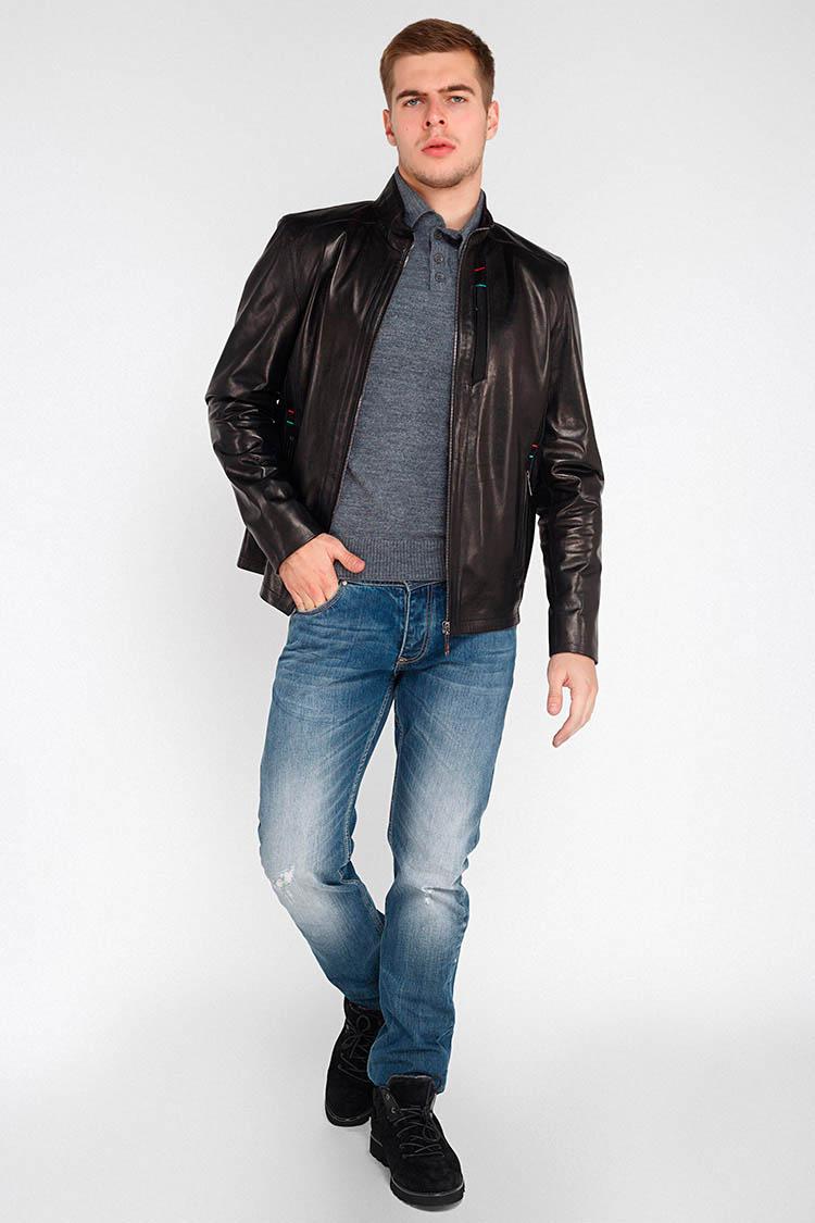 Куртка мужская из натуральной кожи черная, модель EZ-3031