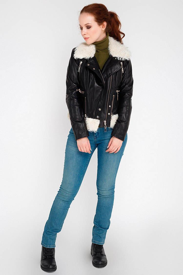 Куртка женская из натуральной кожи черная, модель B-1795