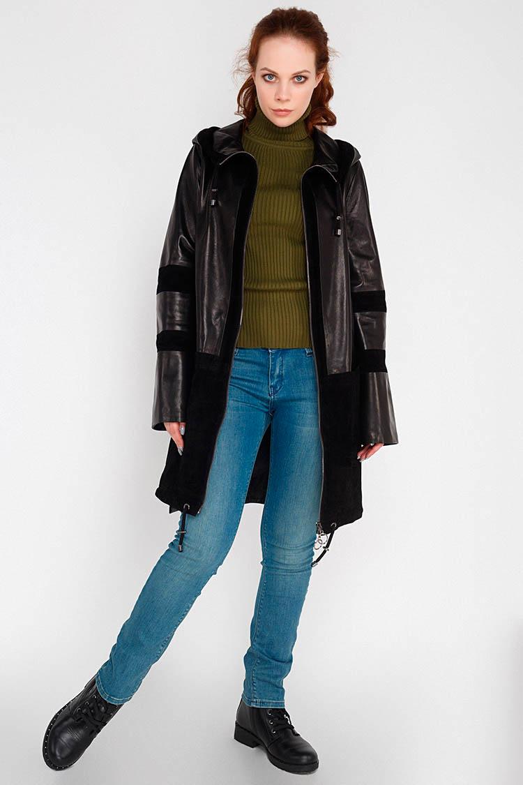 Куртка женская из натуральной кожи черная, модель B-975/KPS