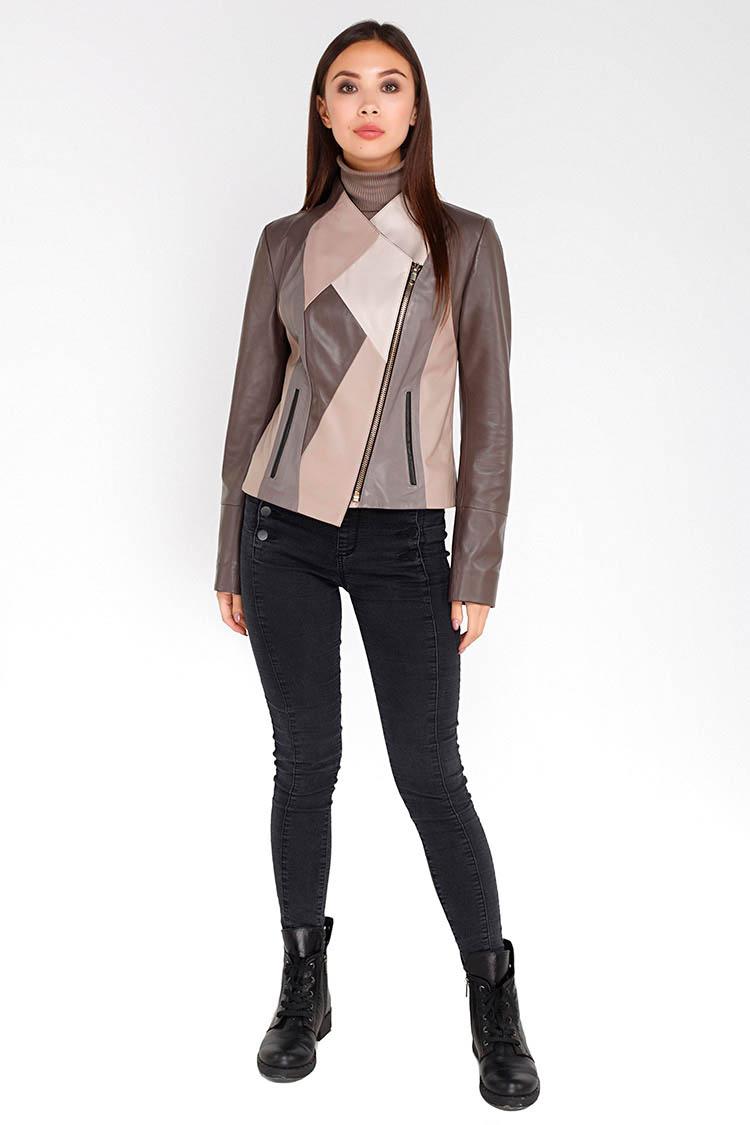 Куртка женская из натуральной кожи мультиколор, модель DC-2640