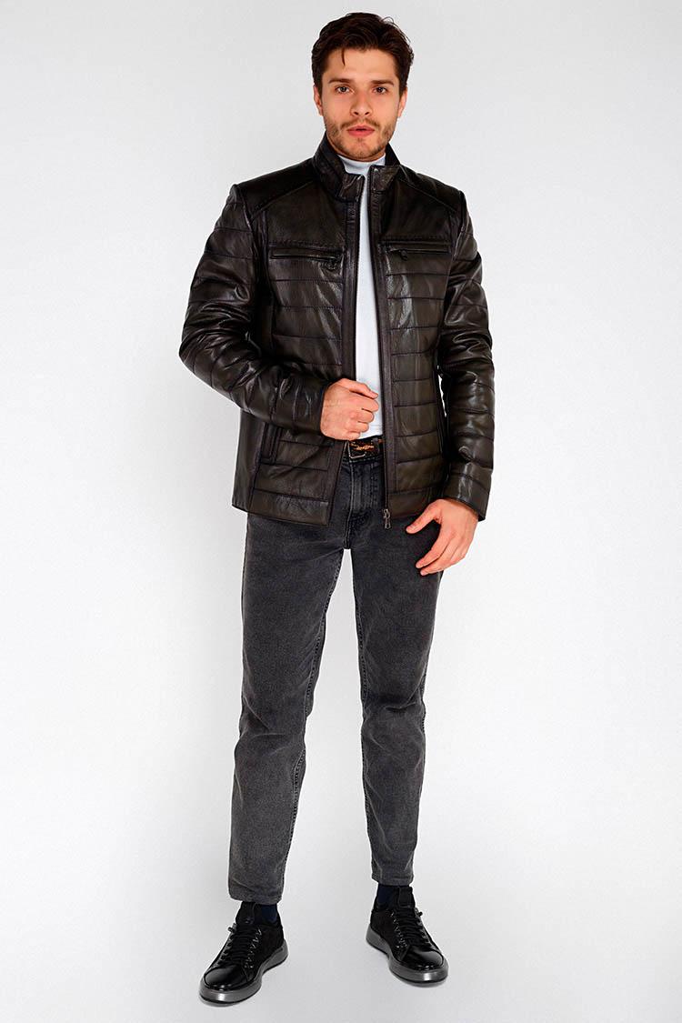 Куртка мужская из натуральной кожи зеленая, модель E-15