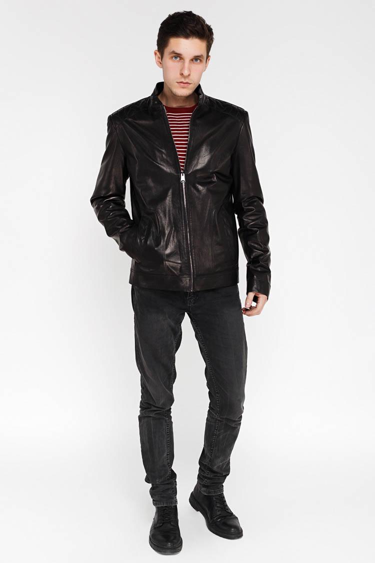 Куртка мужская из натуральной кожи черная, модель KARACA-2
