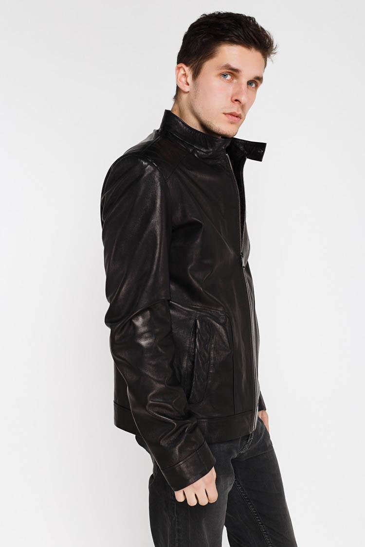 Куртка чоловіча з натуральної шкіри чорна, модель KARACA-2