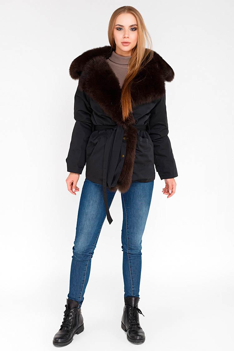 Куртка жiноча з трикотажу чорна, модель 1811/75
