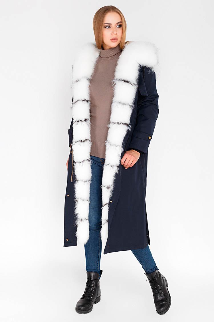 Куртка жiноча з трикотажу синя, модель 274/125/KPS