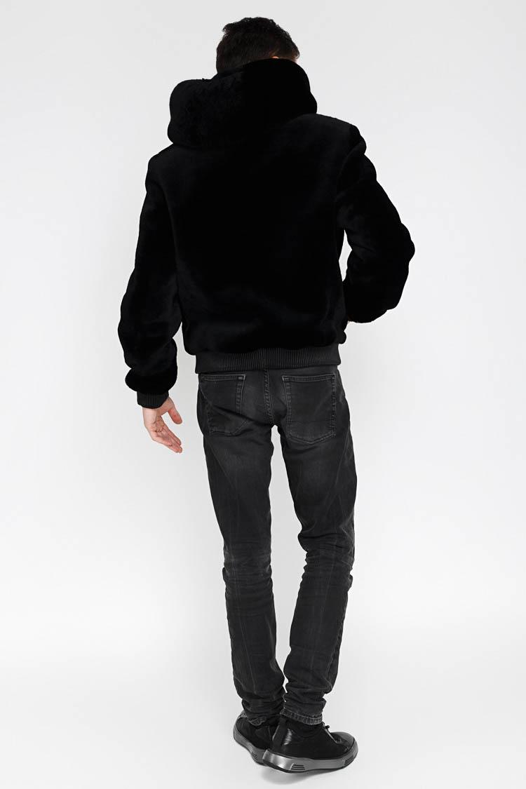 Шуба чоловіча з натуральної шкіри чорна, модель V 57/KPS