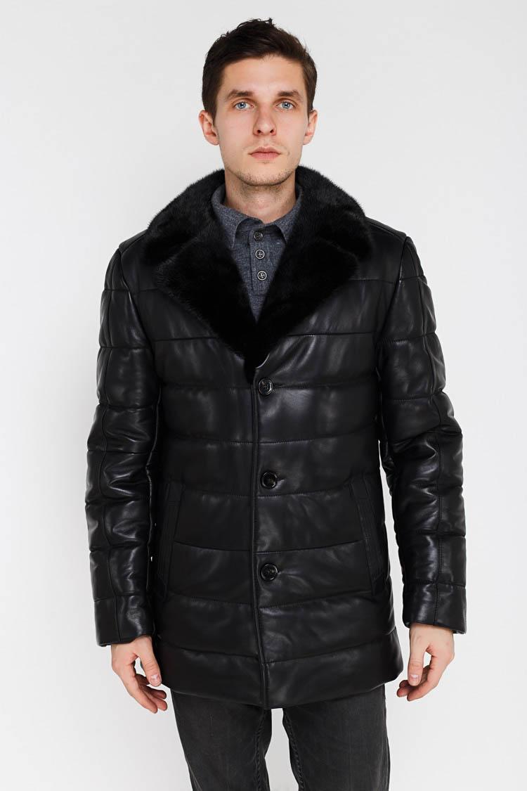 Куртка чоловіча з натуральної шкіри чорна, модель SF 1909