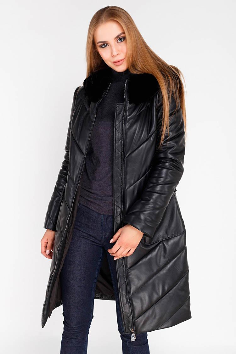 Куртка женская из натуральной кожи черная, модель 1877/KPS