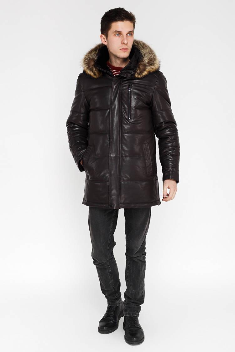 Куртка мужская из натуральной кожи коричневая, модель 9260/KPS