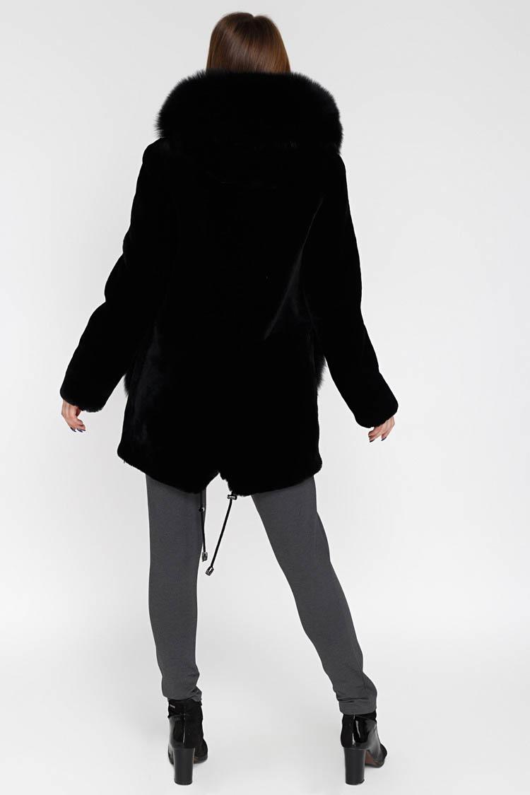 Шуба жiноча з мутону чорна, модель 18108/KPS