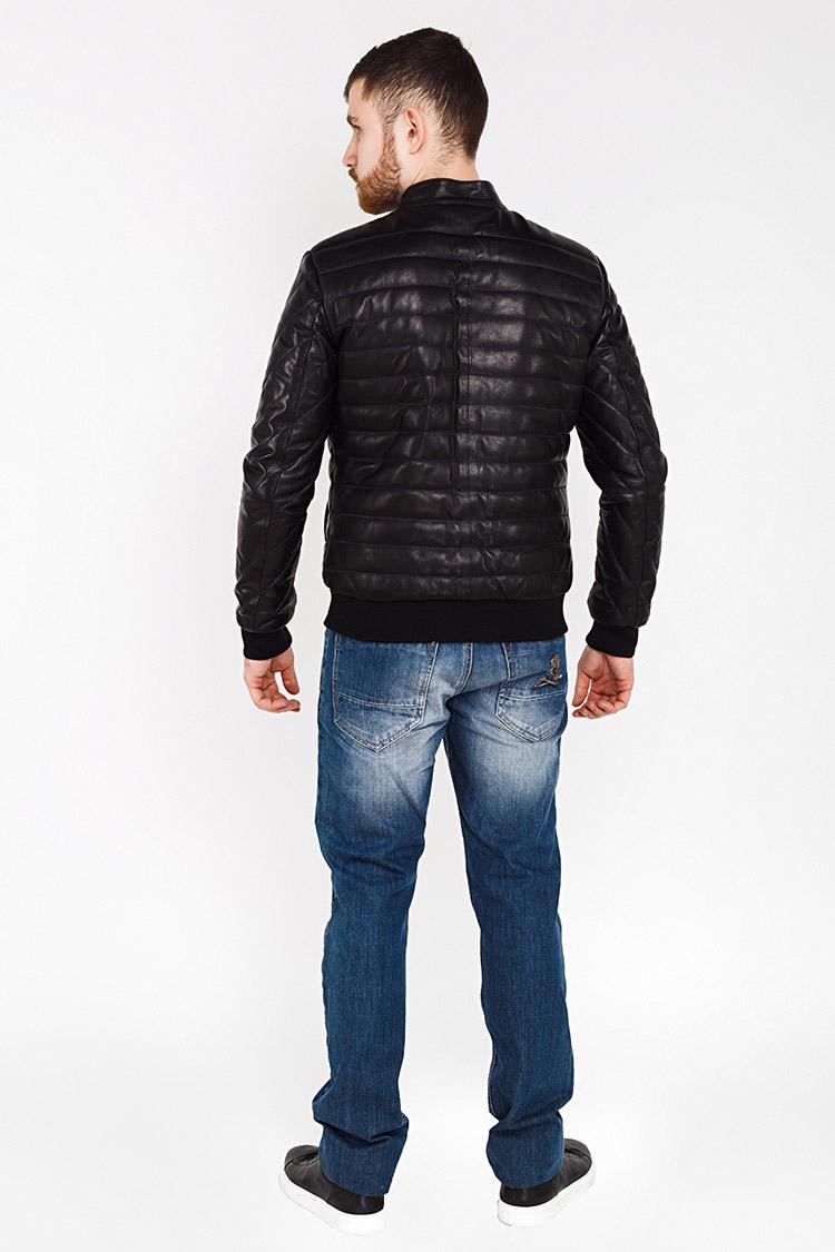 Куртка чоловіча з натуральної шкіри чорна, модель GK-7201/1