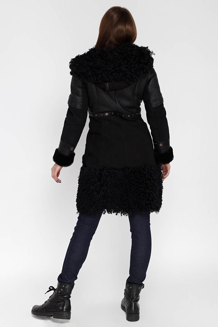 Дубленка женская из натуральной овчины черная, модель 39115/KPS