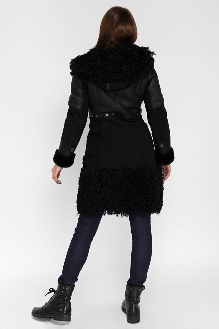 Дублянка жiноча з натурального хутра вівці чорна, модель 39115/KPS