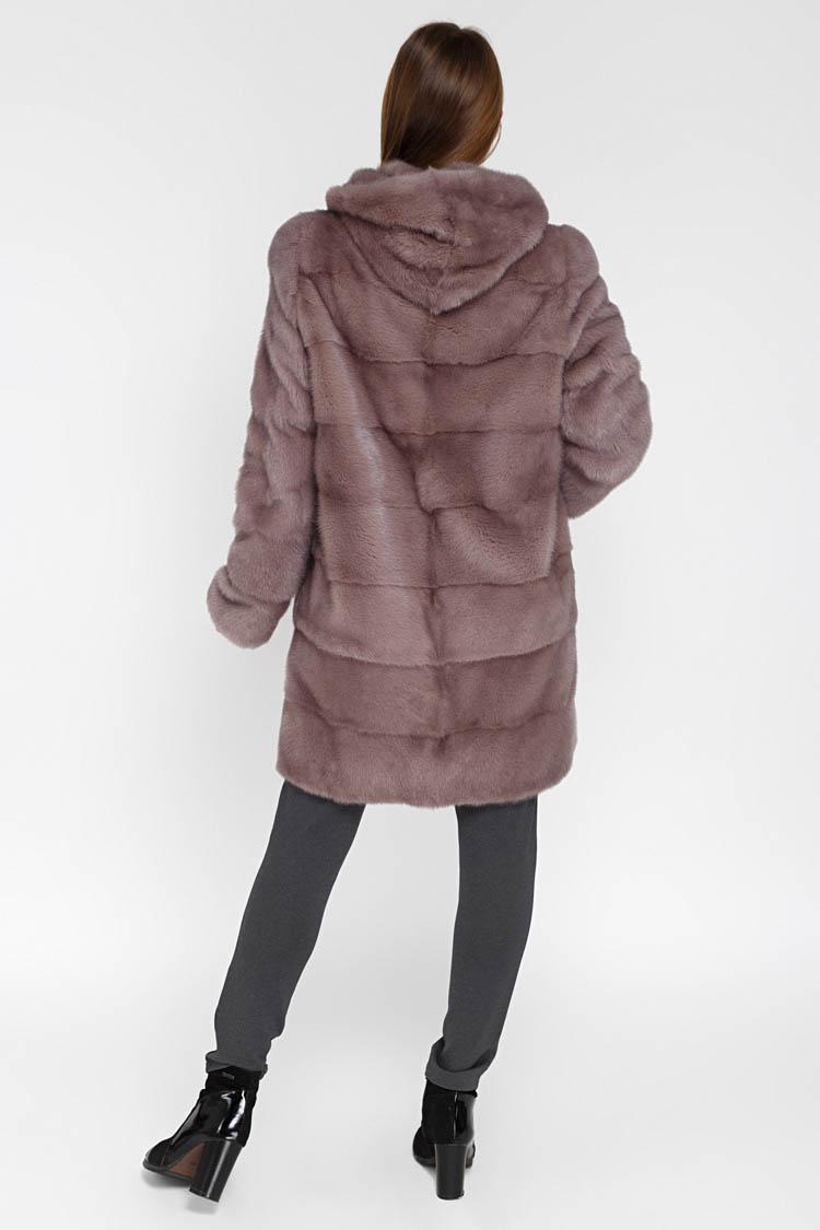 Шуба женская из норки розовая, модель 2019/90/KPS/T
