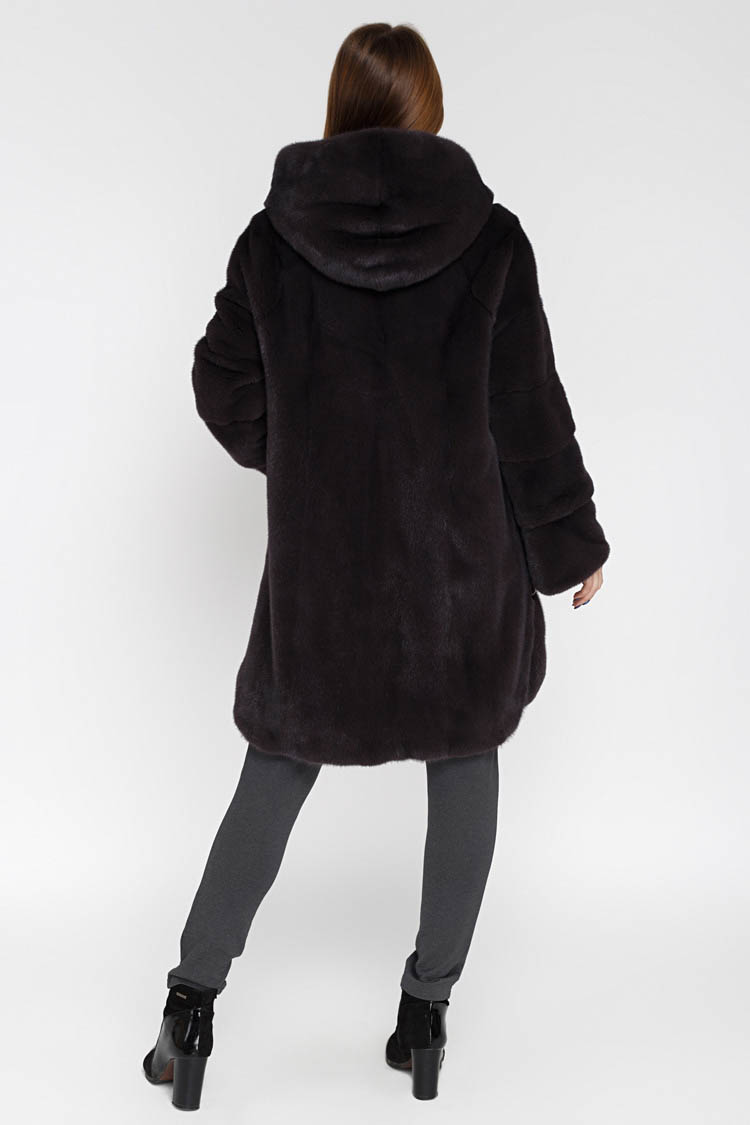 Шуба женская из норки фиолетовая, модель 18-48/90/KPS