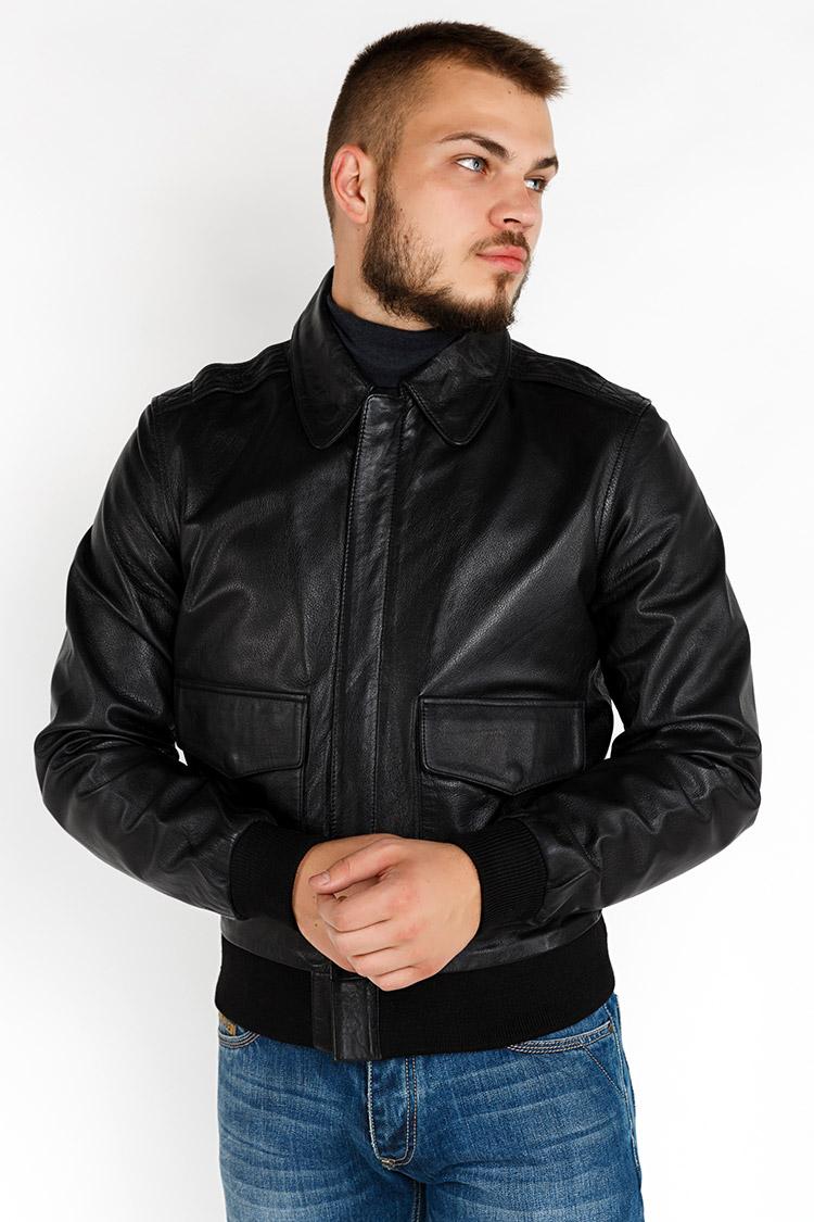 Куртка мужская из натуральной кожи черная, модель GS-21