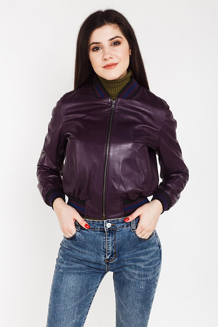 Куртка жiноча з натуральної шкіри фіолетова, модель G-18