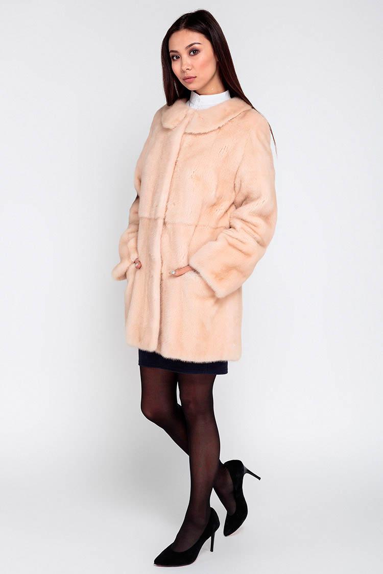 Шуба женская из норки розовая, модель 13.14.4A/78