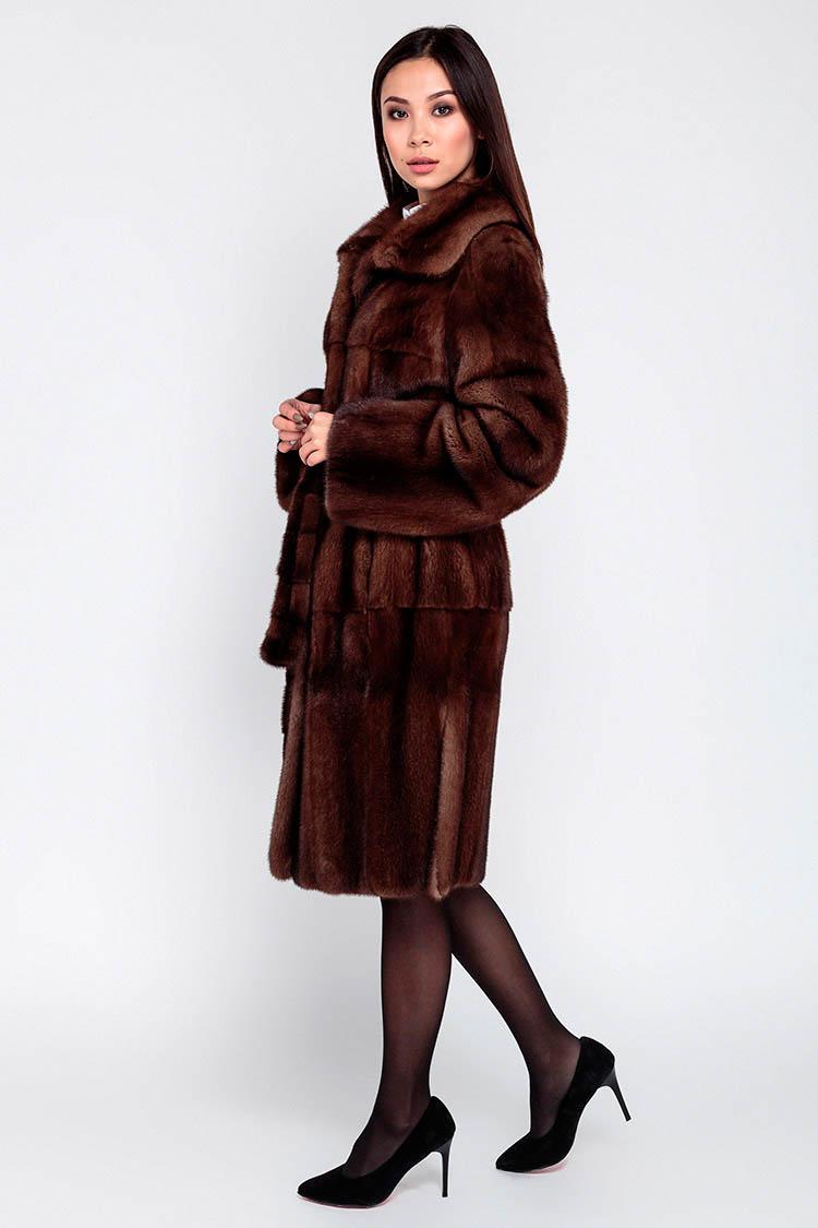 Шуба женская из норки коричневая, модель 020 B/99