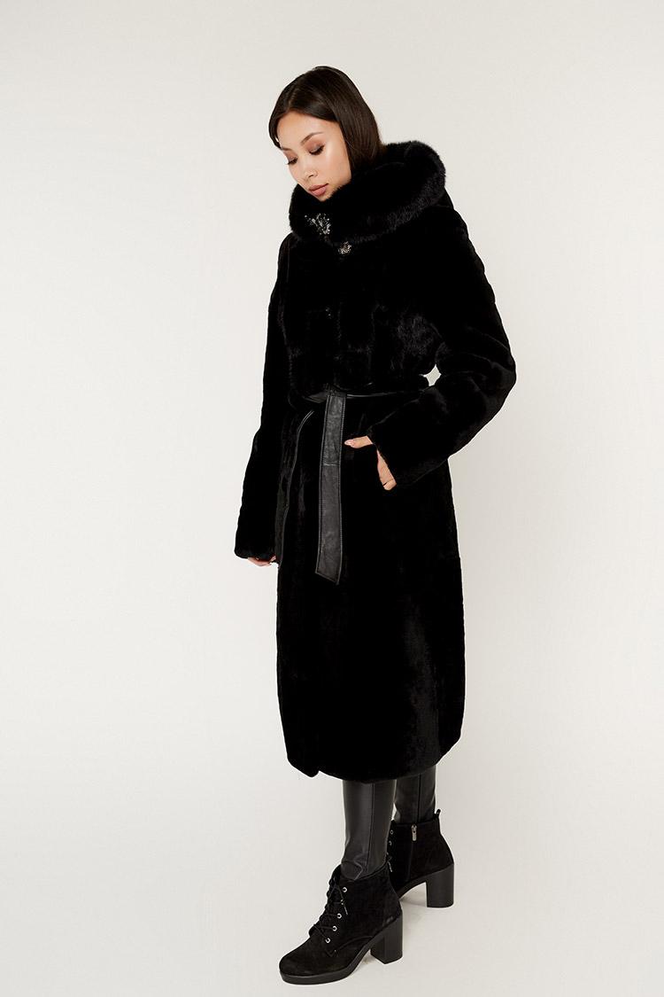 Шуба женская из мутона черная, модель 17116/110/KPS