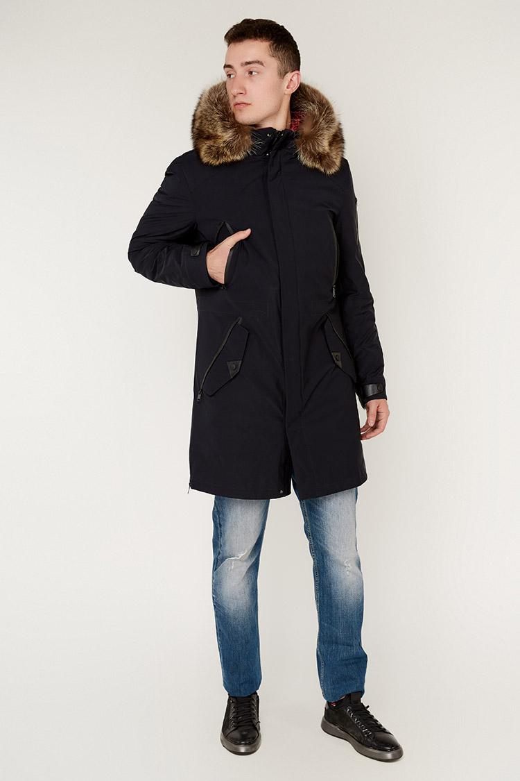 Куртка чоловіча з трикотажу синя, модель 887053/KPS
