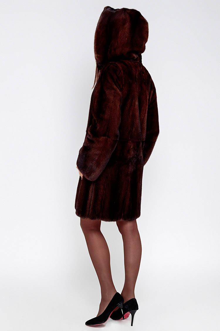 Шуба женская из норки коричневая, модель 020 K/89/KPS