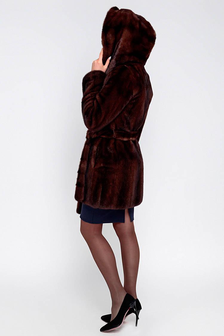 Шуба женская из норки коричневая, модель 515/83/KPS