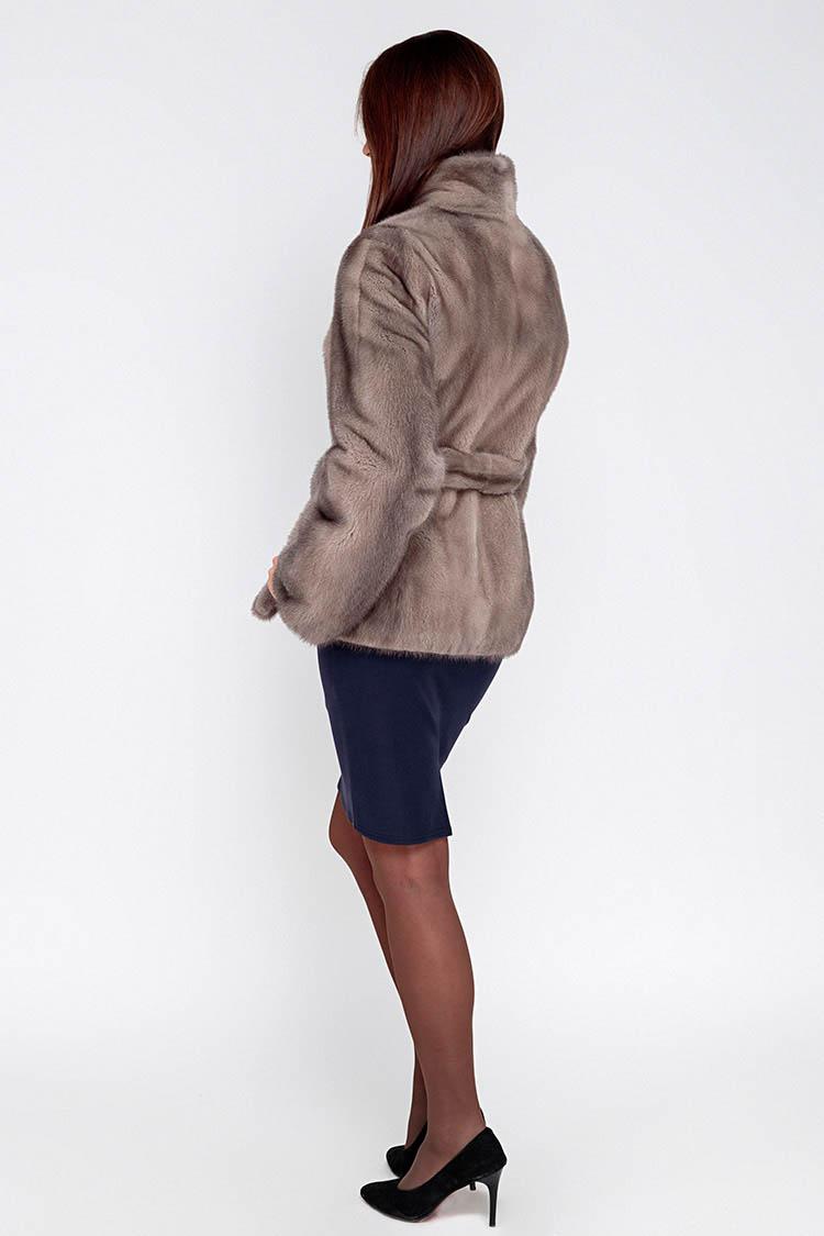 Шуба женская из норки серая, модель P 1011/65