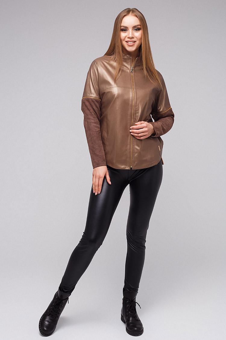 d7657a30369d Куртка женская из натуральной кожи коричневая, модель DC-1684