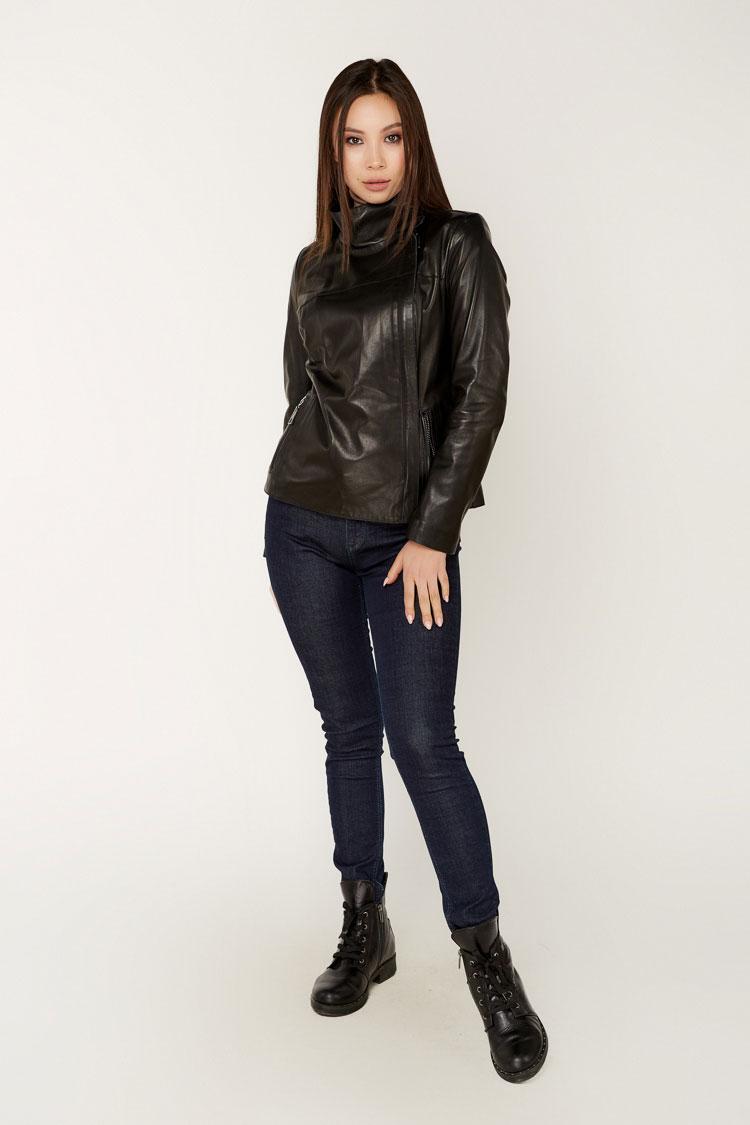 Куртка женская из натуральной кожи черная, модель B-2300