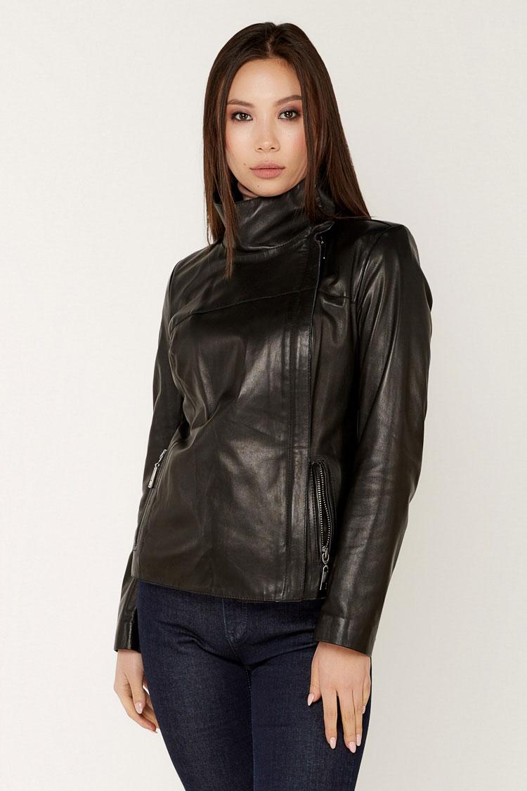 Куртка жiноча з натуральної шкіри чорна, модель B-2300