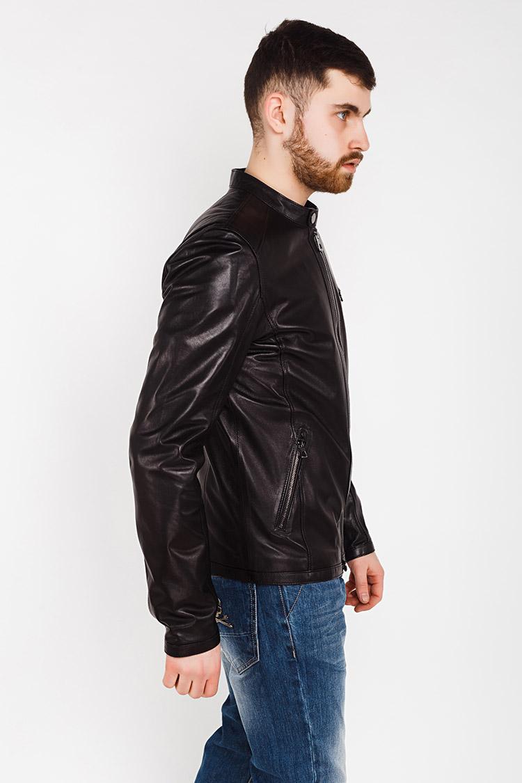 Куртка чоловіча з натуральної шкіри чорна, модель E-469