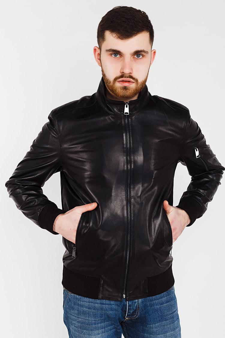 Куртка чоловіча з натуральної шкіри чорна, модель E-167