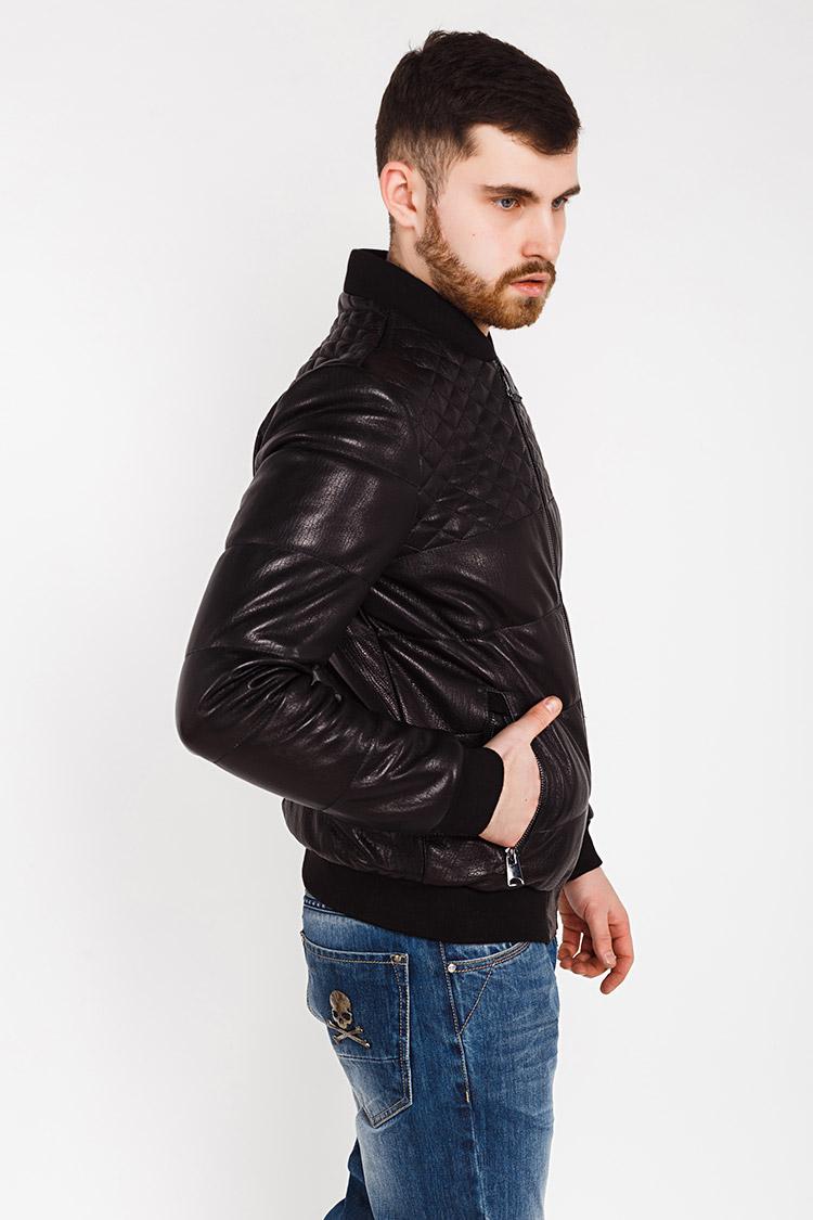 Куртка чоловіча з натуральної шкіри чорна, модель PP-01